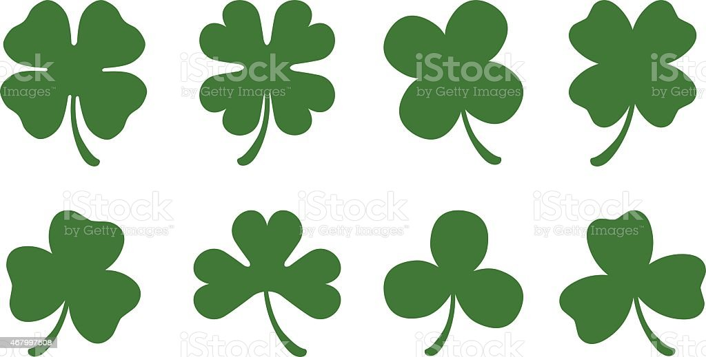 Four and Three Leaf Clovers vector art illustration