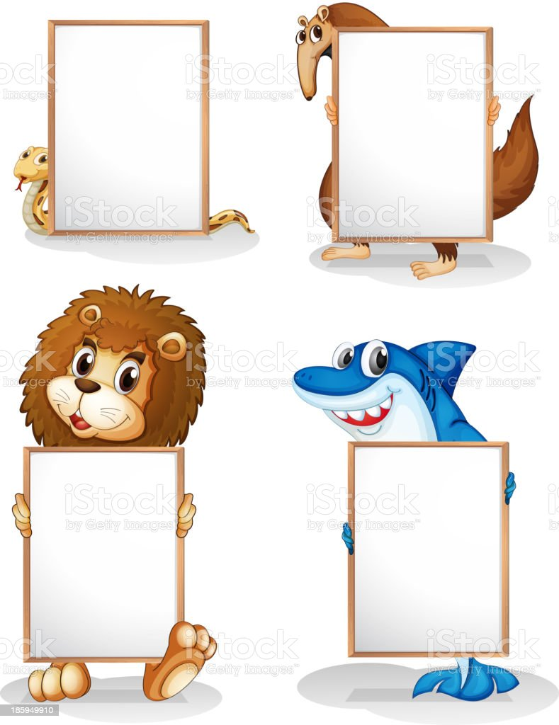 Four animals with empty whiteboards royalty-free stock vector art