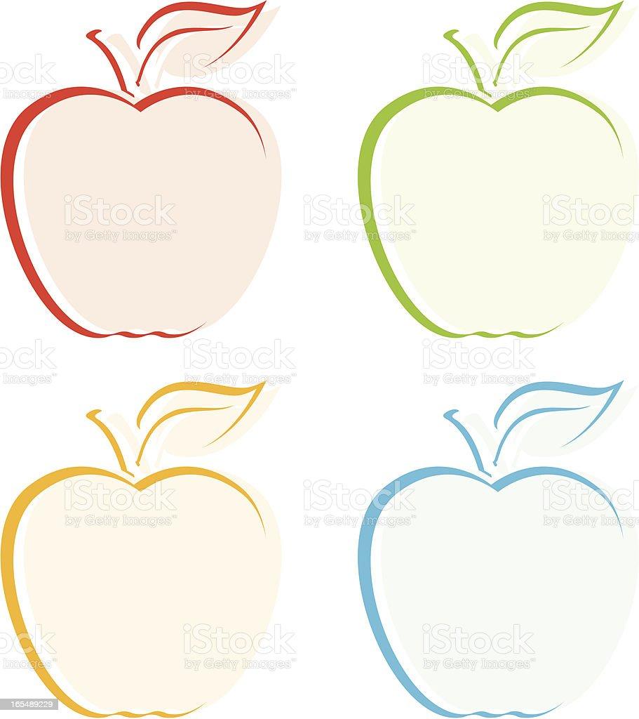 Four Apples vector art illustration