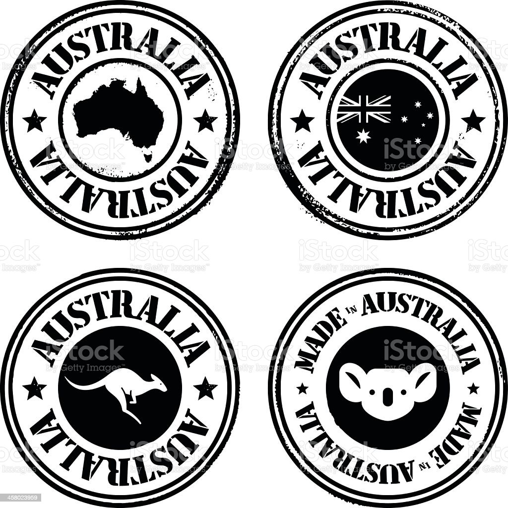 Four Australia themed stamps in black vector art illustration