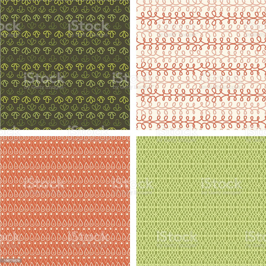 Four Autumn Textures Seamless Patterns Backgrounds Set royalty-free stock vector art