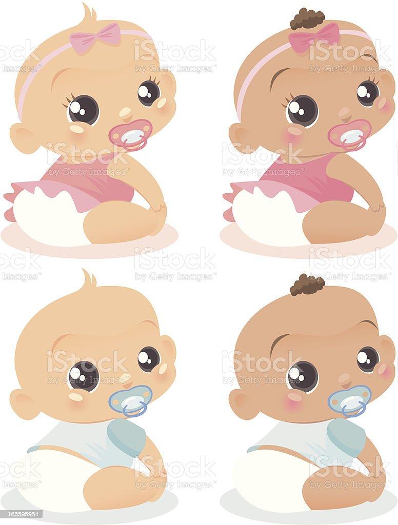 Four Babies! royalty-free stock vector art