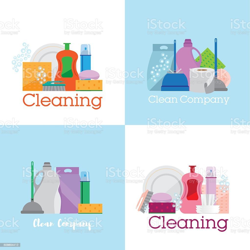 Four banners, cleaning vector art illustration