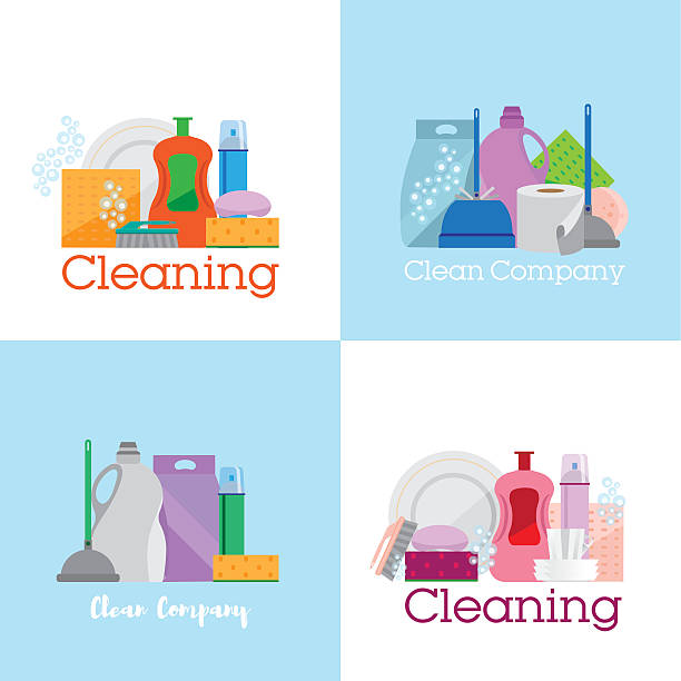 Household Appliances Vector Art Illustration Four Banners Cleaning