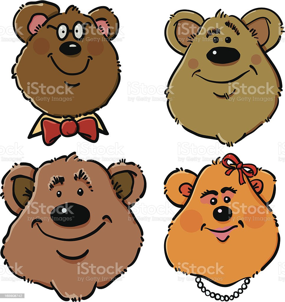 Four Bears vector art illustration