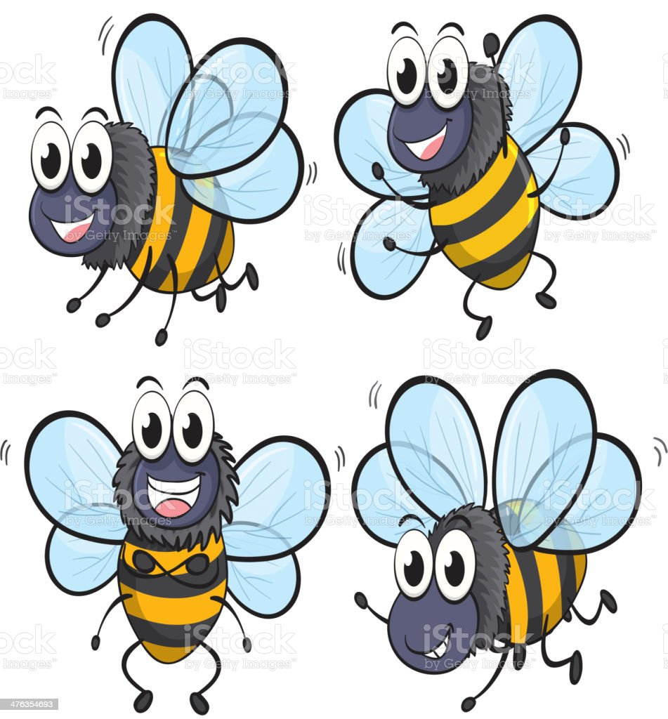 Four bees royalty-free stock vector art