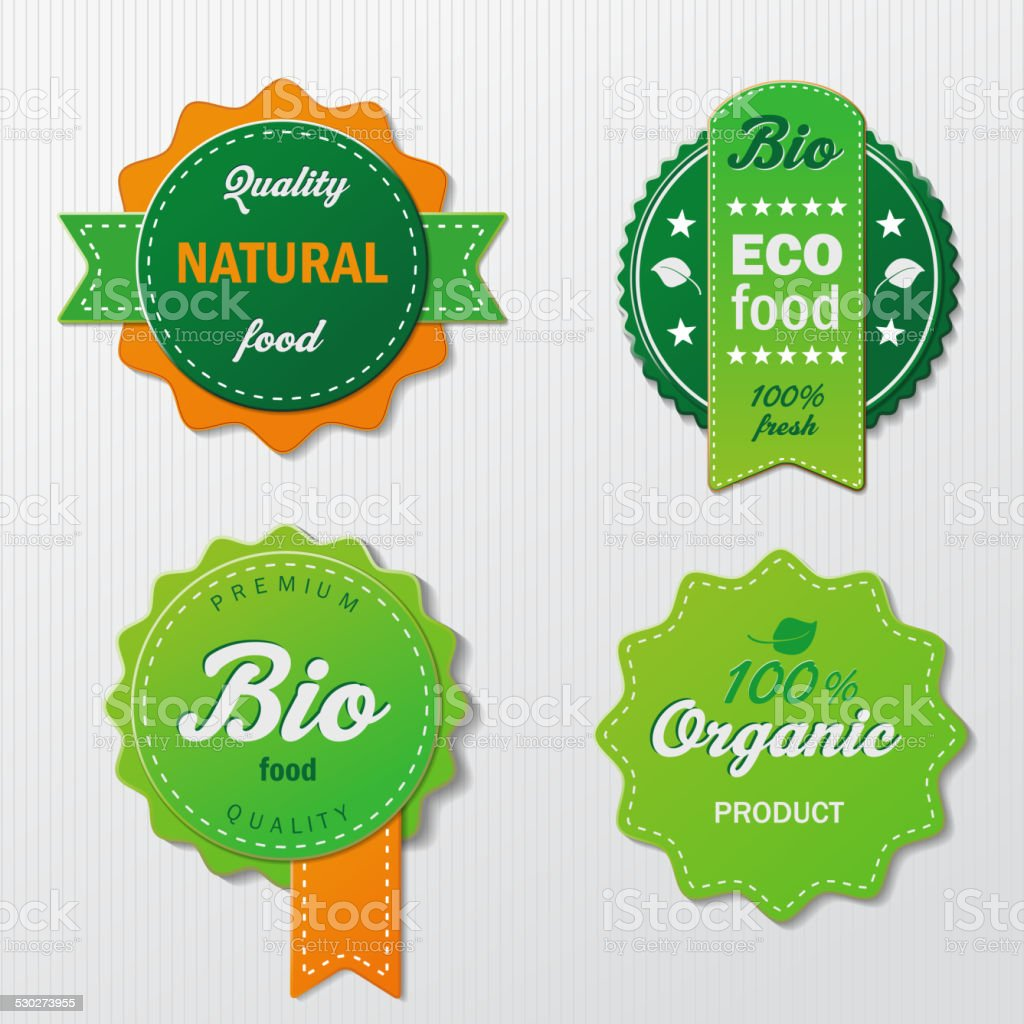Four Biofood Labels With Text vector art illustration