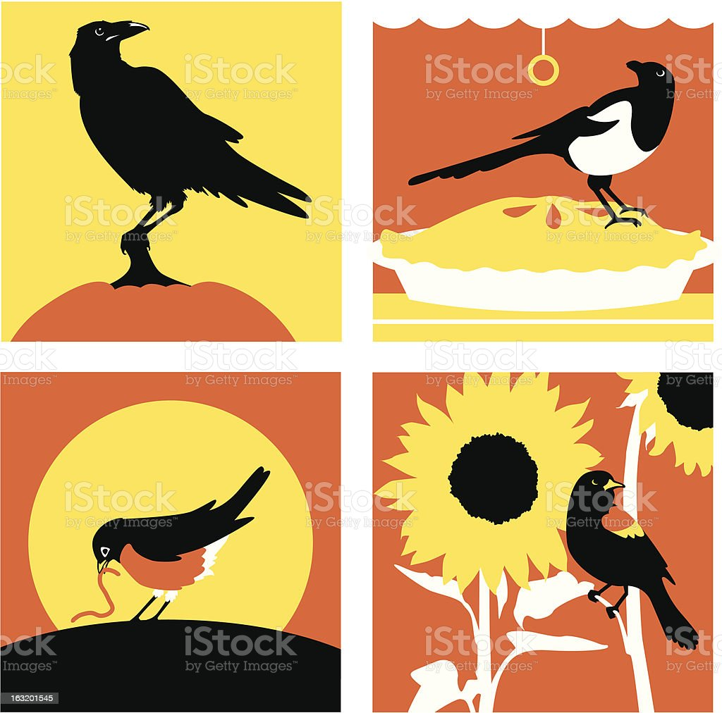 Four Bird Cliches in Warm Tones royalty-free stock vector art
