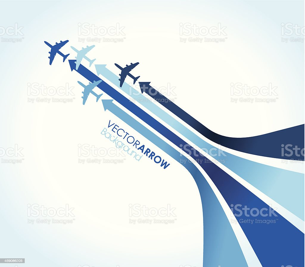 four blue airplanes vector art illustration