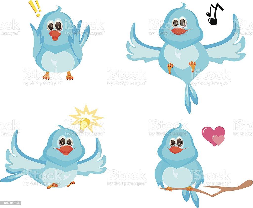 Four blue birds vector art illustration