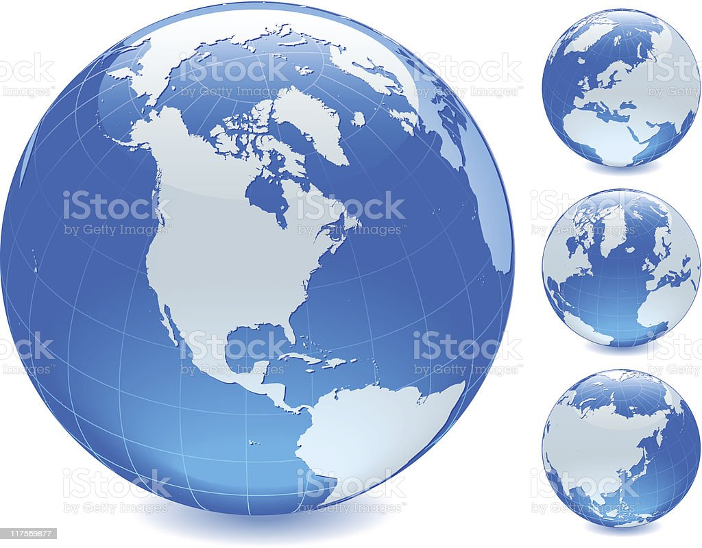 Four blue globes, each showing a different side of earth vector art illustration