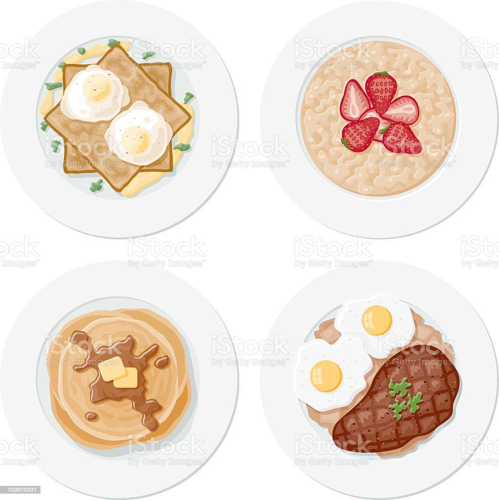 Four Breakfast Plates vector art illustration