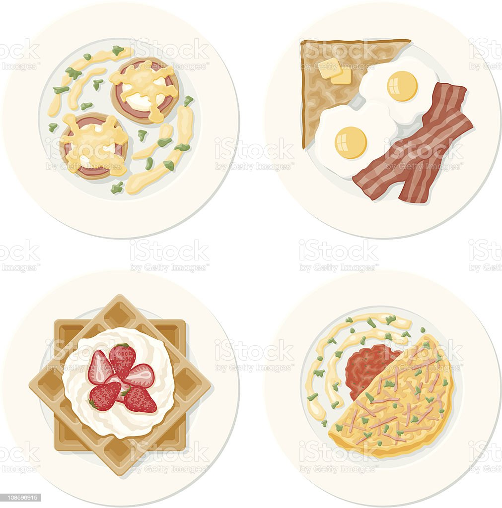 Four Breakfast Plates vector art illustration