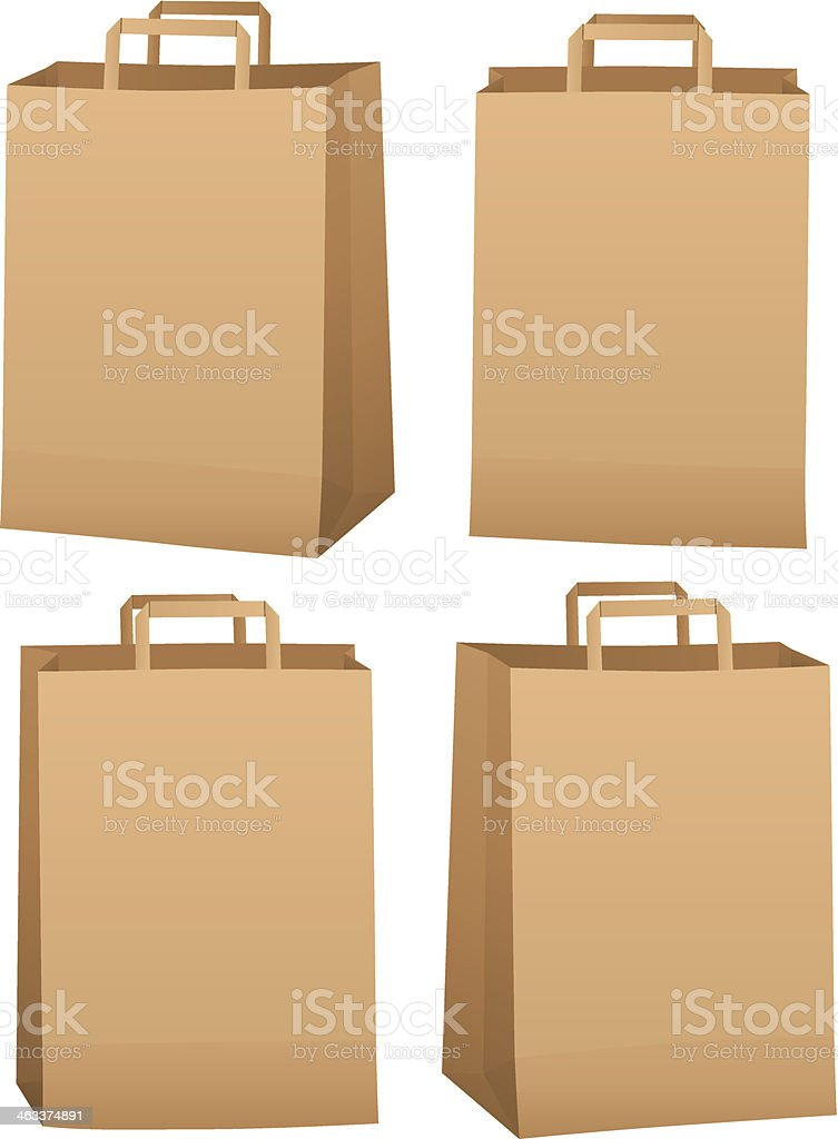 Four brown grocery bags with small handles vector art illustration