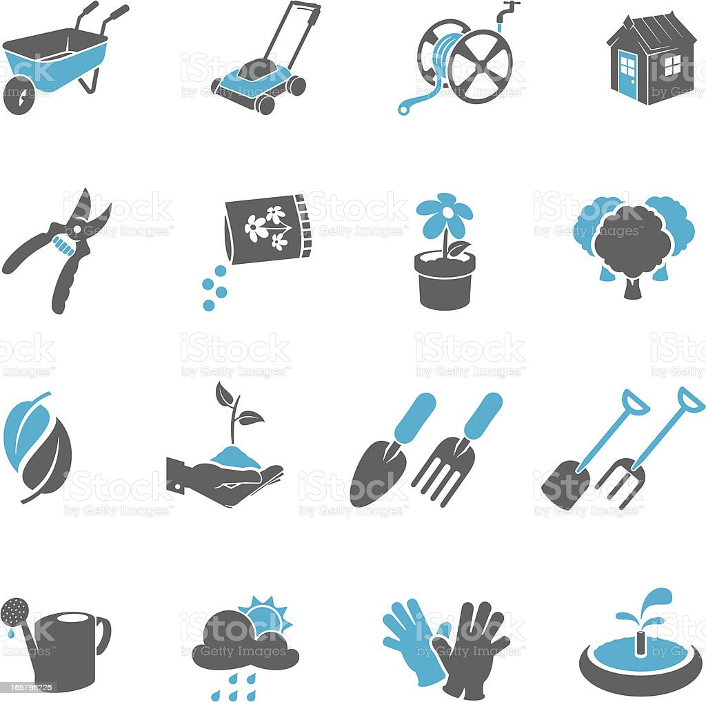 Four by four blue and grey gardening icons vector art illustration