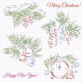 Four calligraphic composition. Christmas and New Year Theme.