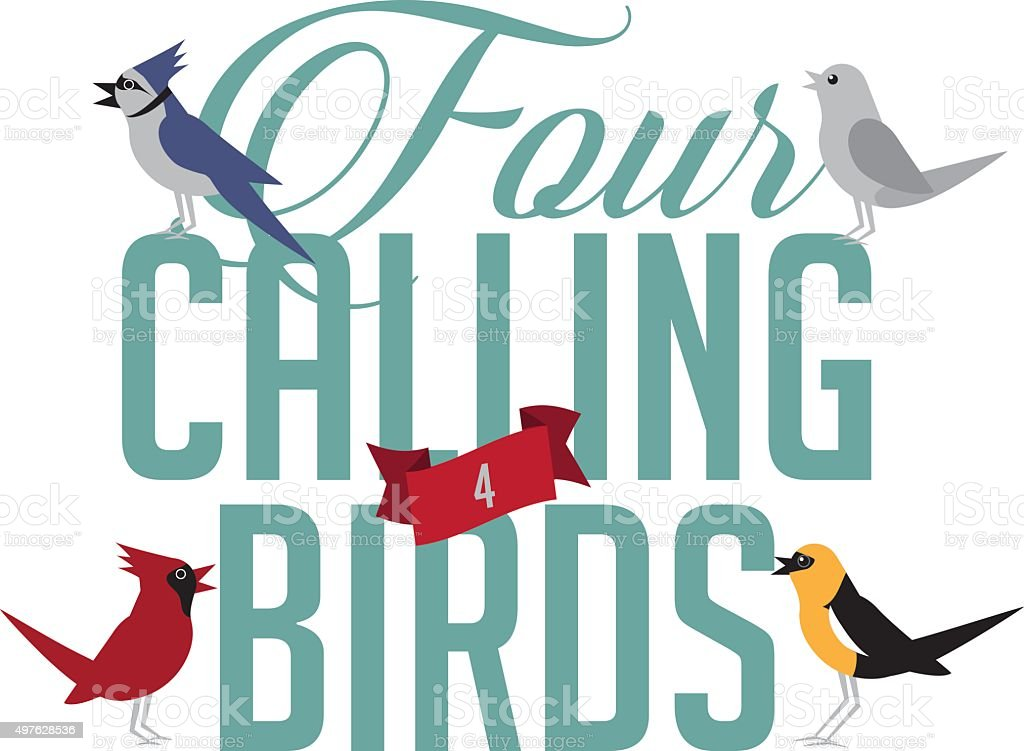 Four calling birds vector art illustration