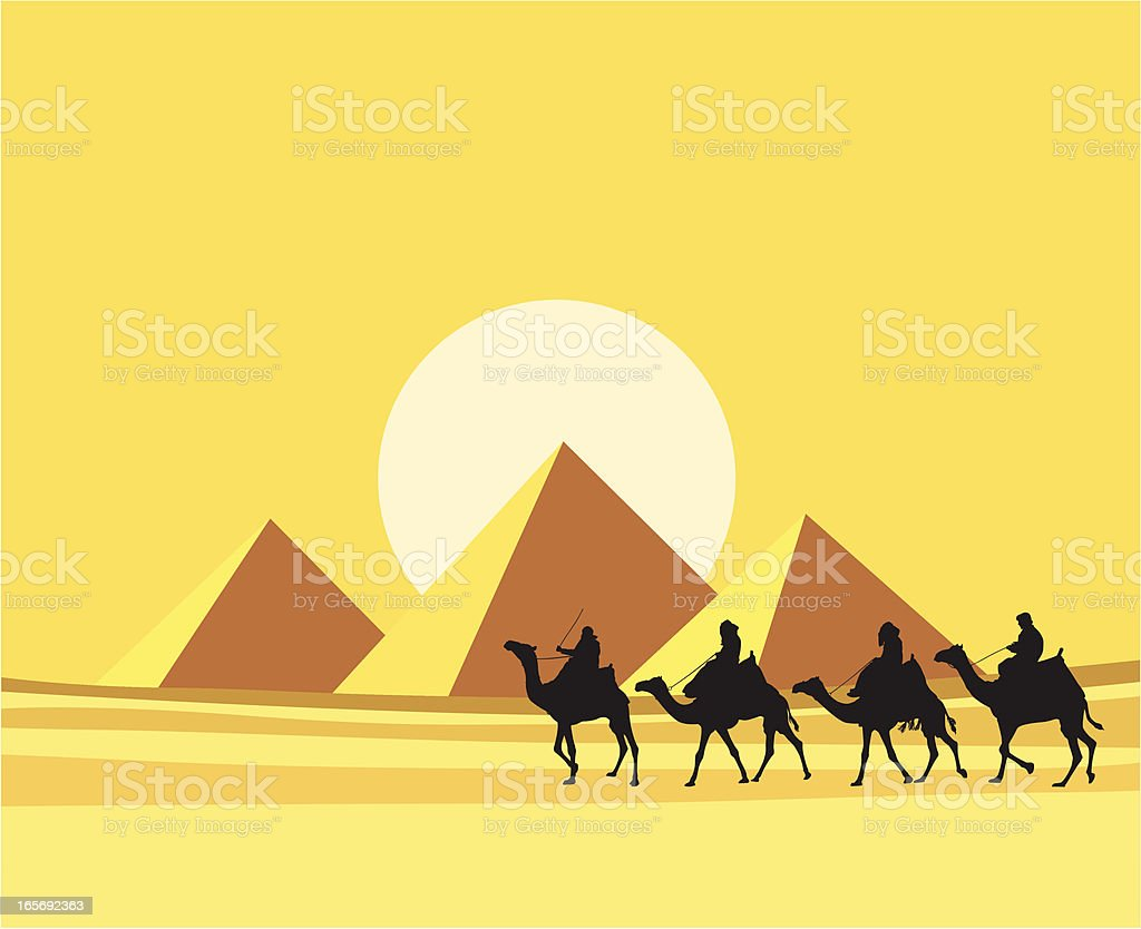 Four camels with riders silhouetted against the Pyramids vector art illustration