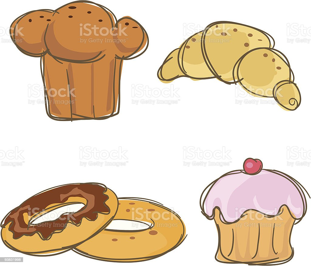 Four carbohydrate icons royalty-free stock vector art