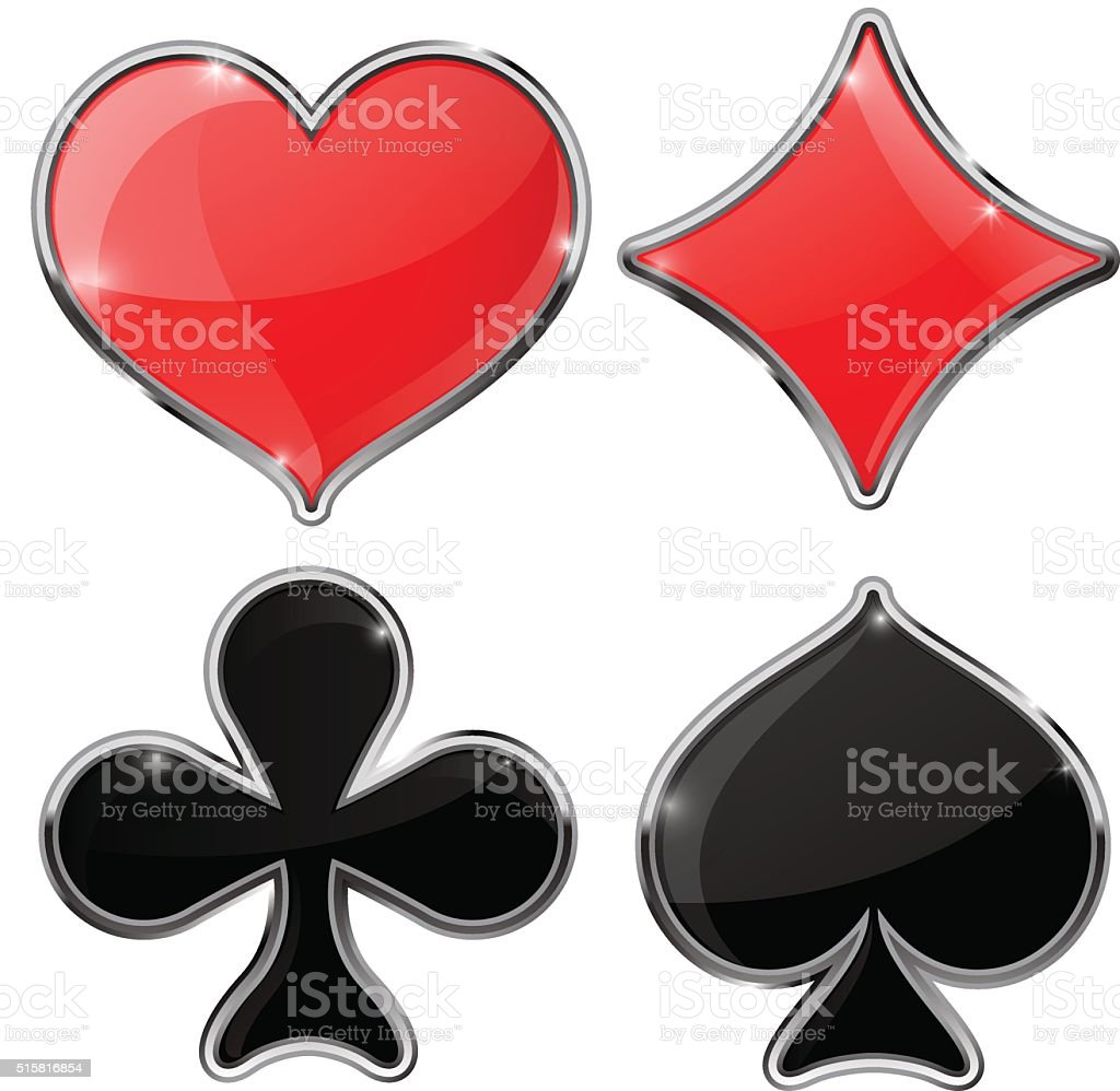 Four cards suits - diamonds, clubs, spades, hearts vector art illustration