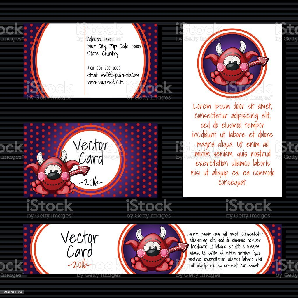 Four cards with little devil vector art illustration