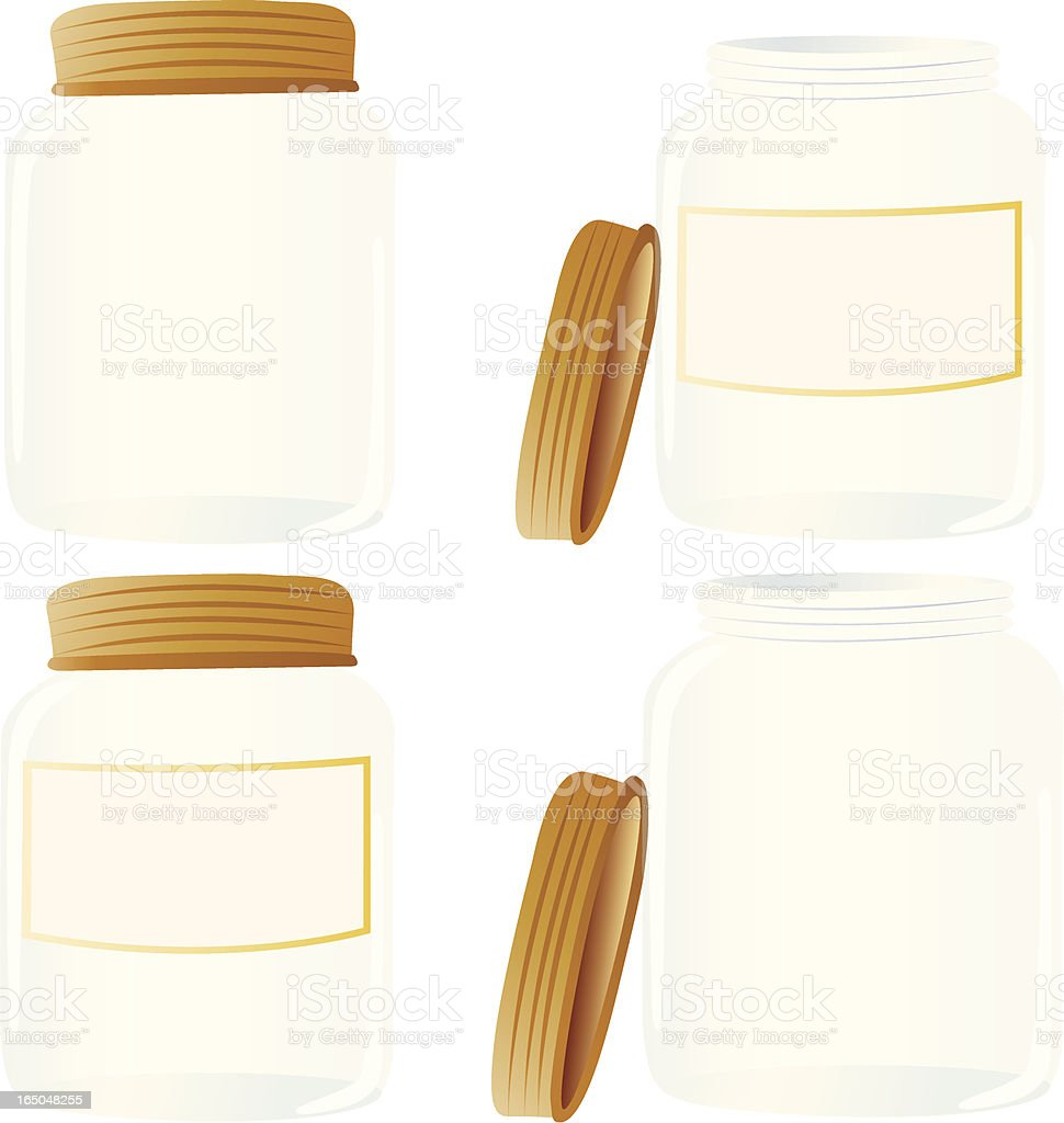 Four cartoon drawn mason jars, two jars have the lids off  vector art illustration