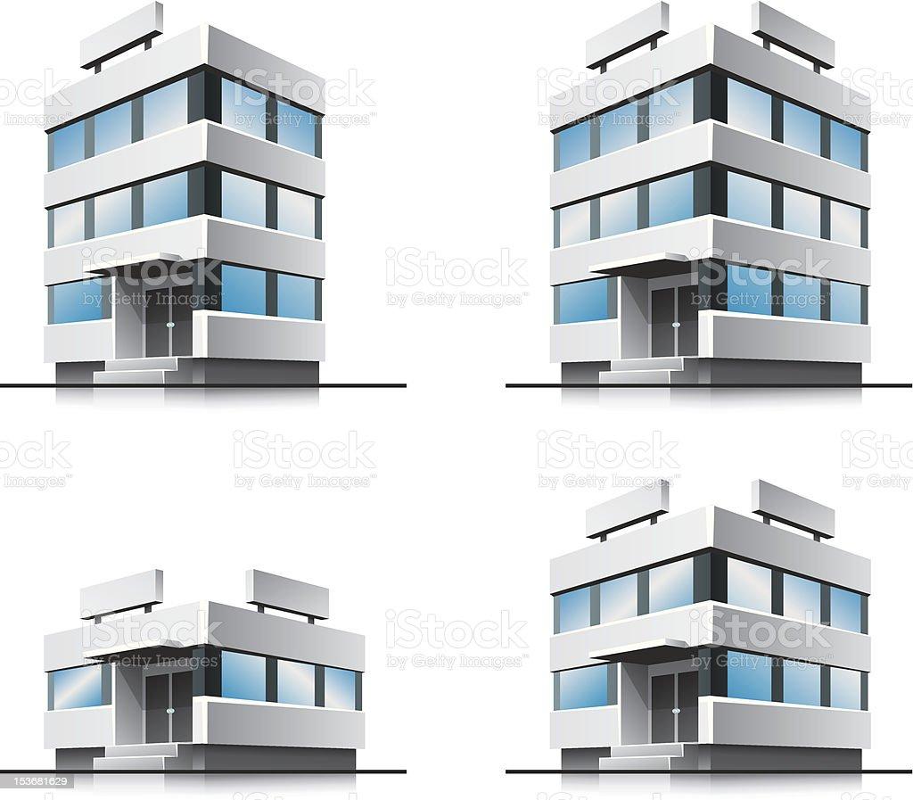 Four cartoon office vector buildings. royalty-free stock vector art
