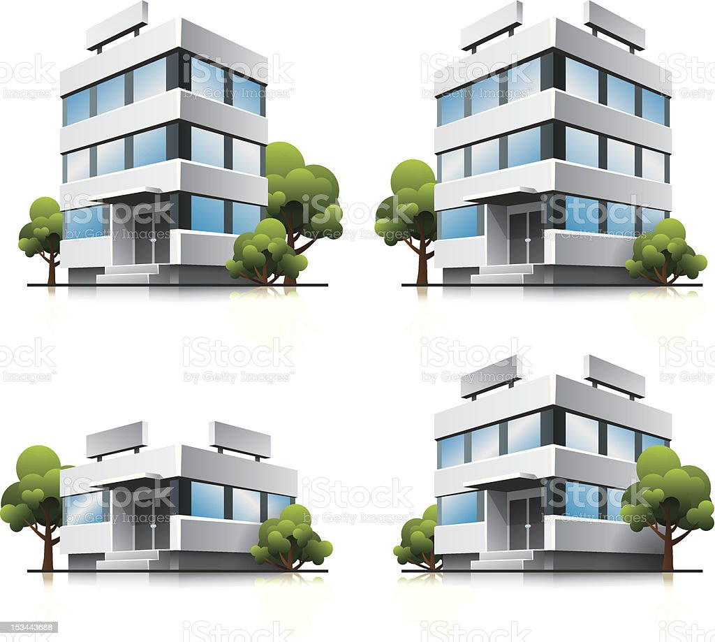 Four cartoon office vector buildings with trees vector art illustration