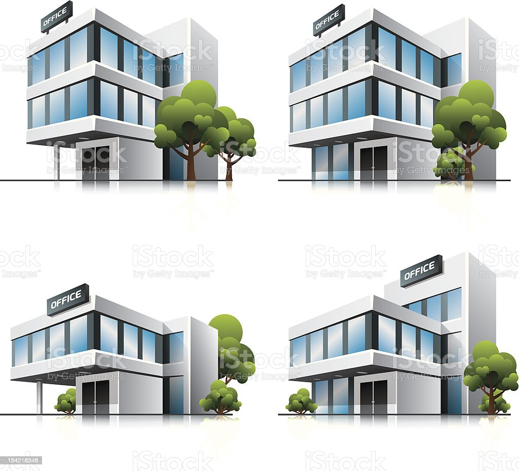 Four cartoon office vector buildings with trees. royalty-free stock vector art