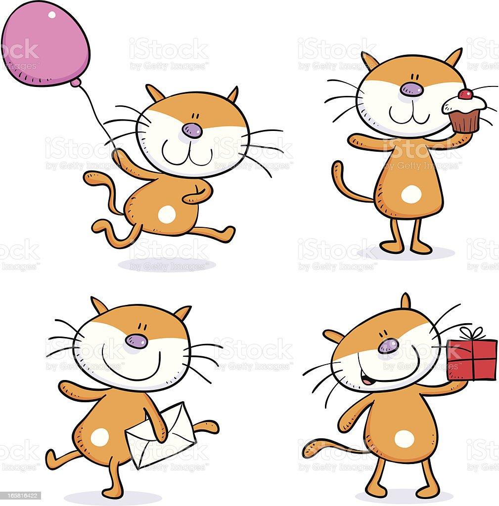Four cats vector art illustration