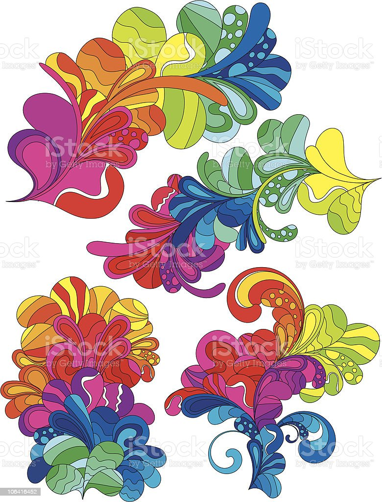 Four cheerful design elements vector art illustration