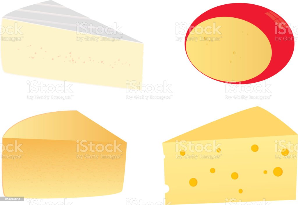 four cheeses vector art illustration