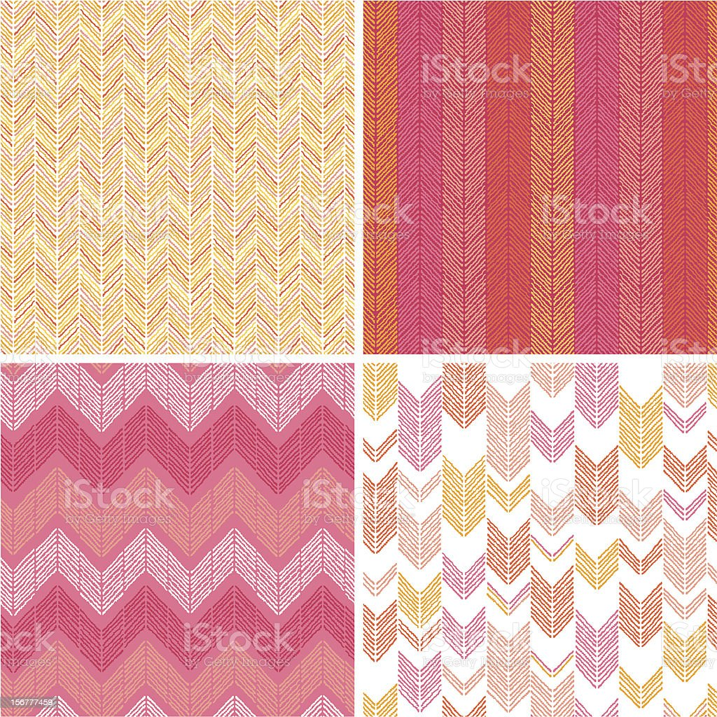 Four Chevron Fabric Textures Seamless Patterns Set royalty-free stock vector art