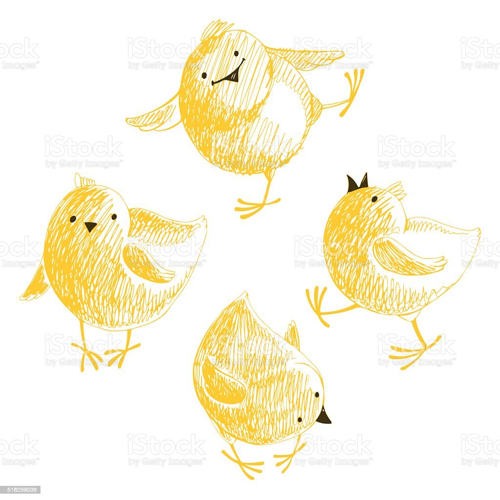 Four chicks.Isolated elements for design on a white background. vector art illustration