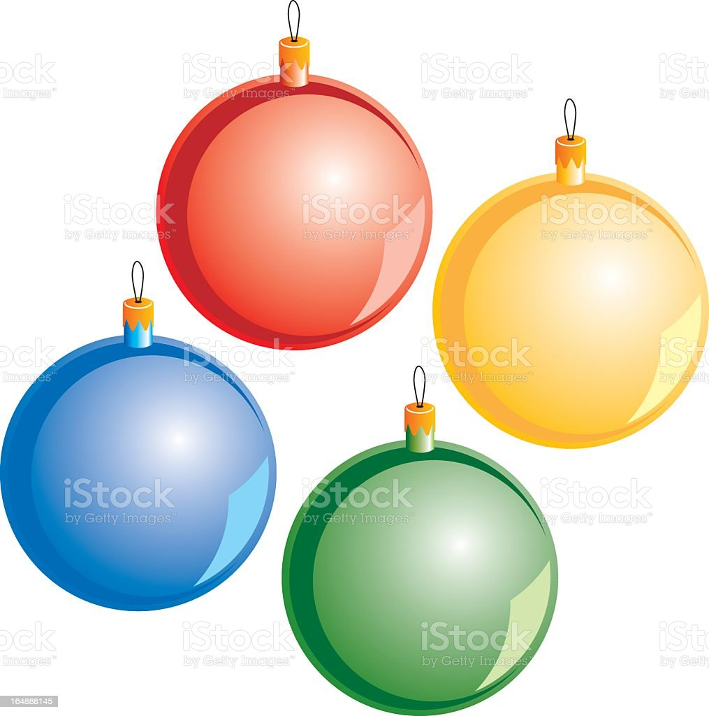 Four Christmas bright colorful baubles royalty-free stock vector art