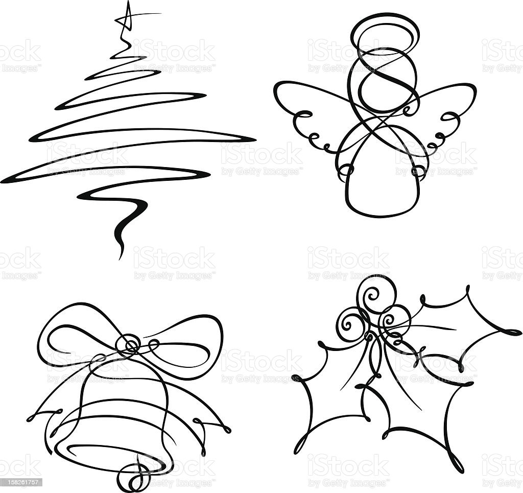 Four Christmas Single Line Icons vector art illustration