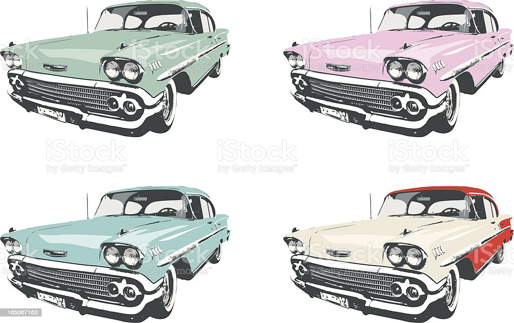 Four Classic Cars vector art illustration