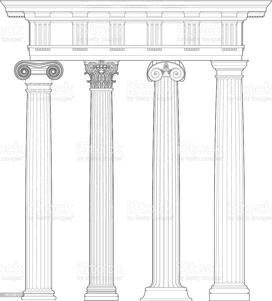 Four classical orders vector art illustration
