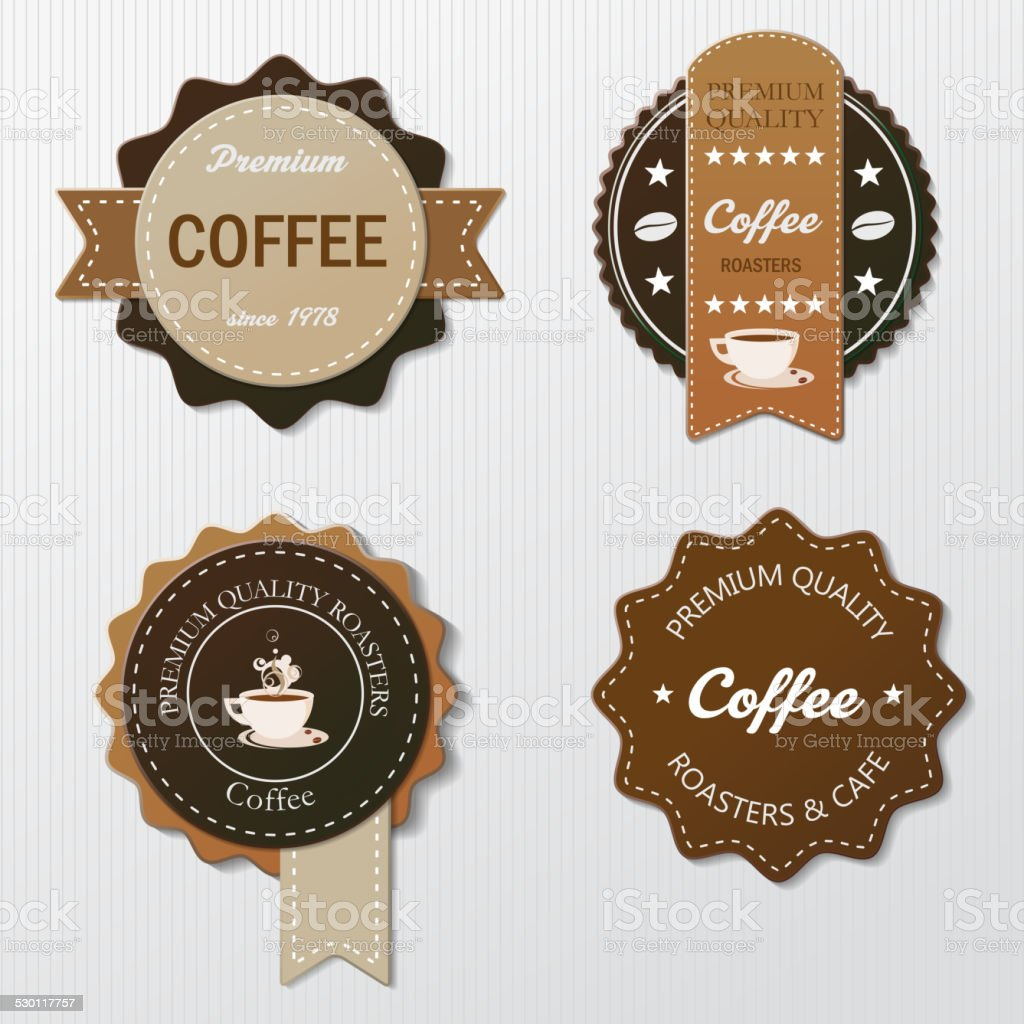 Four Coffee Labels With Text vector art illustration