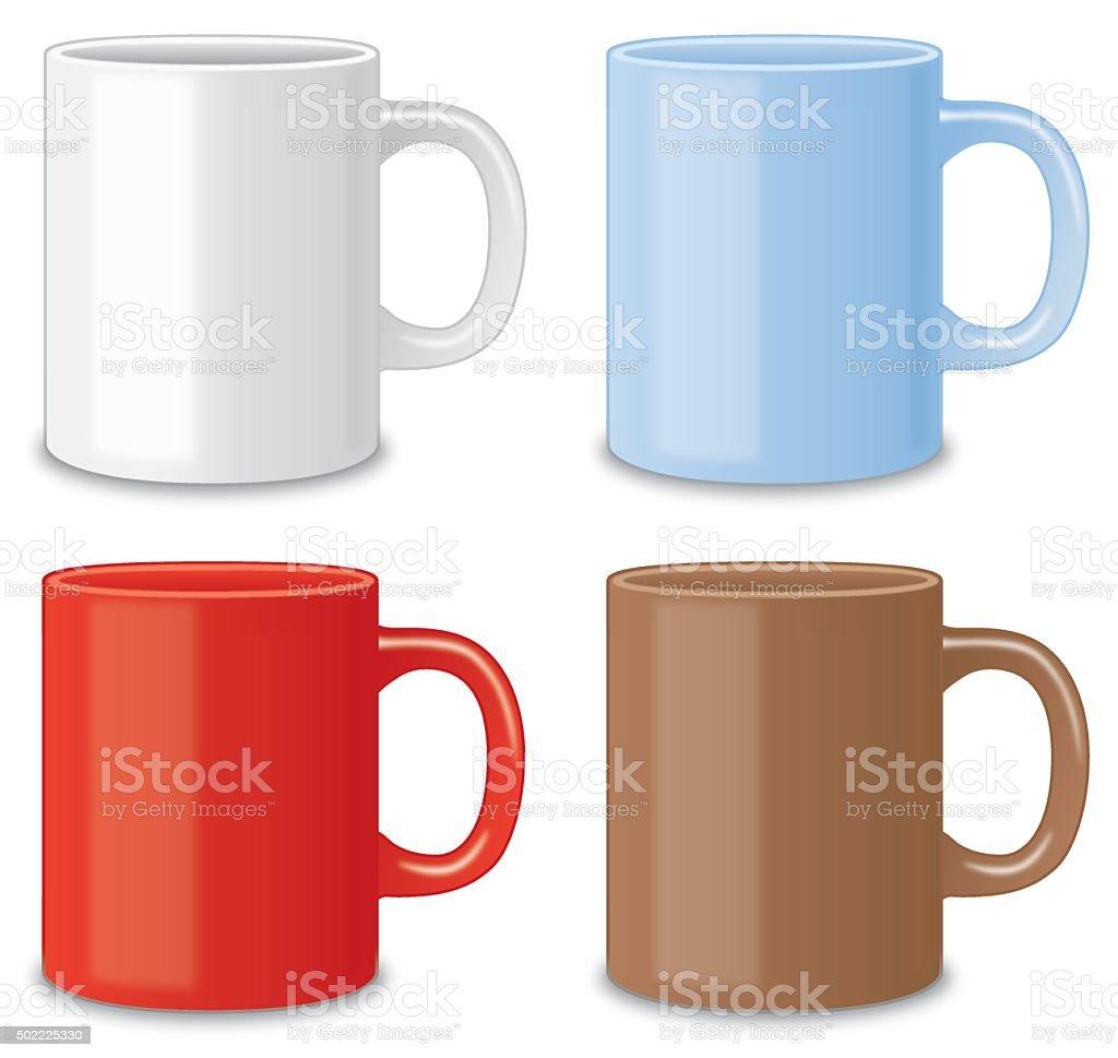 Four Coffee Mugs vector art illustration