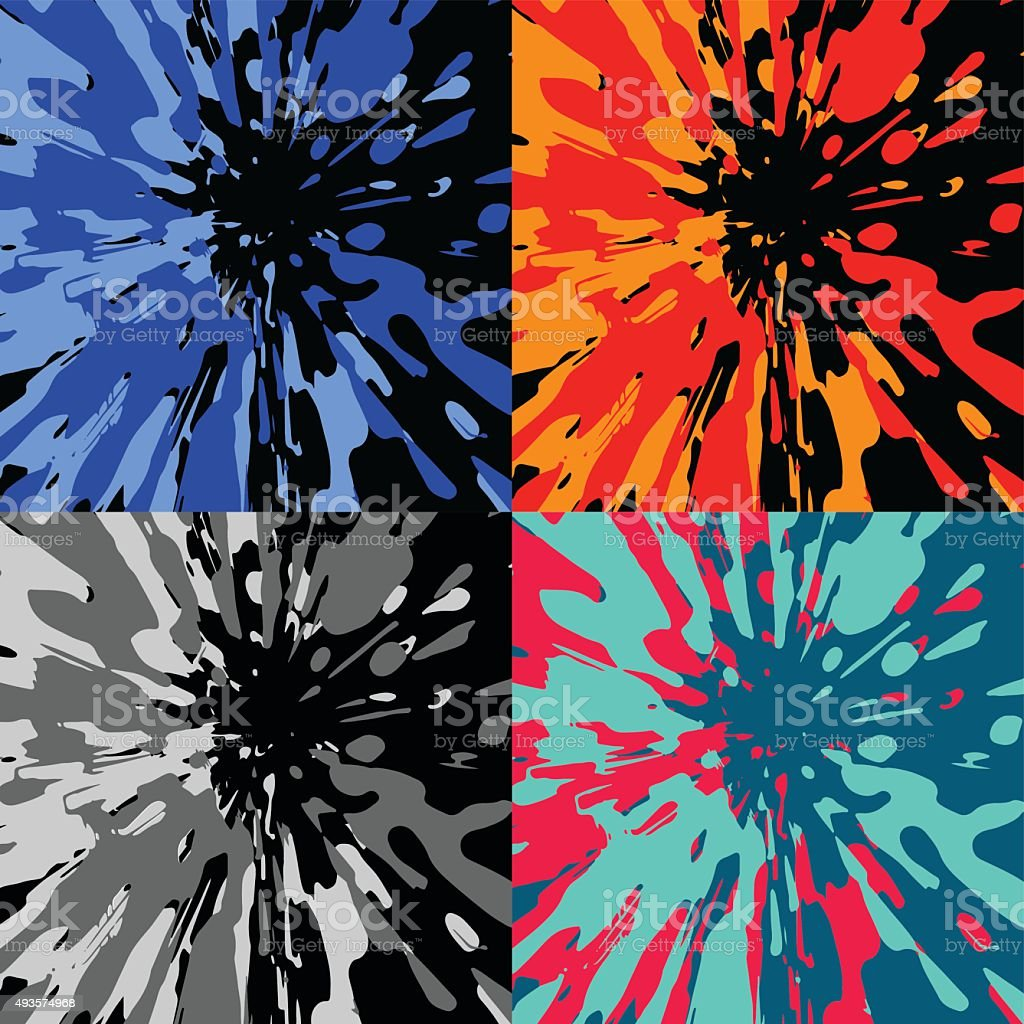 Four color blotches vector art illustration