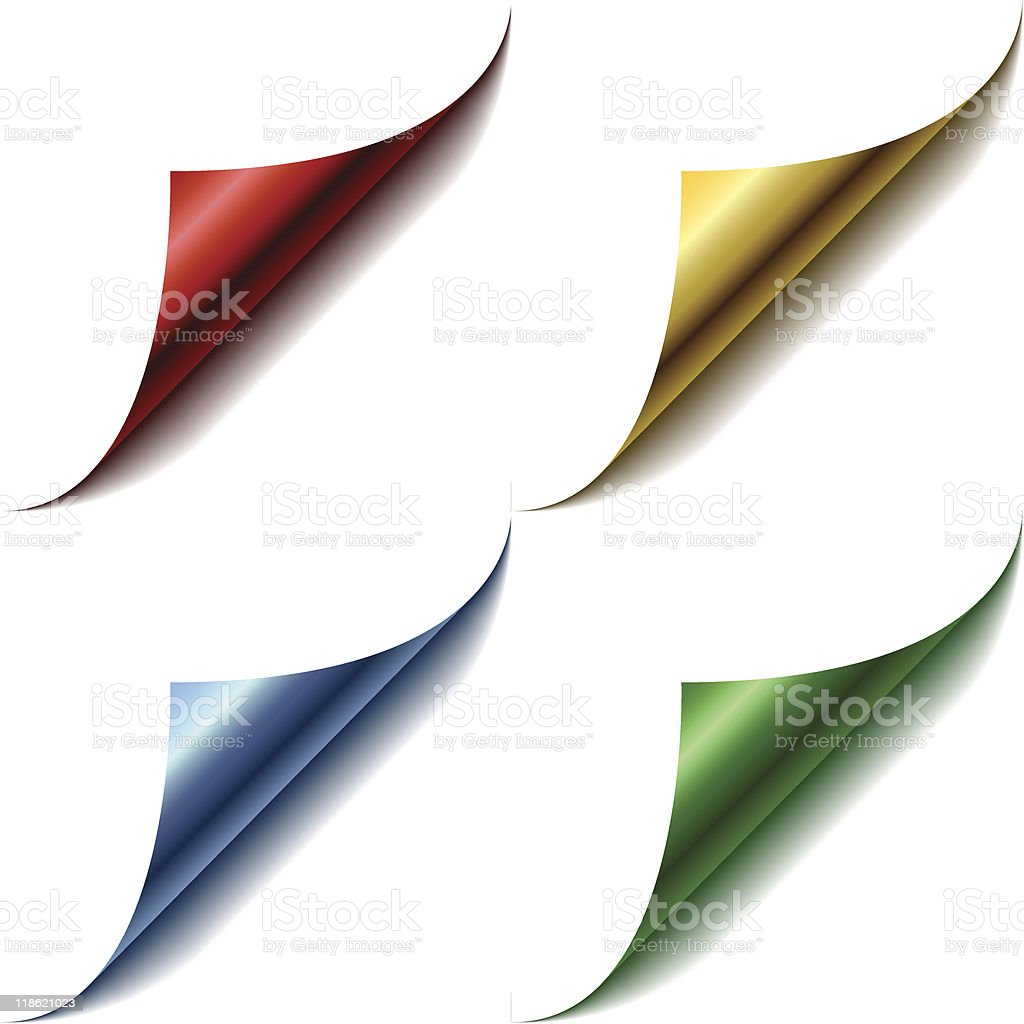 Four color page corners royalty-free stock vector art