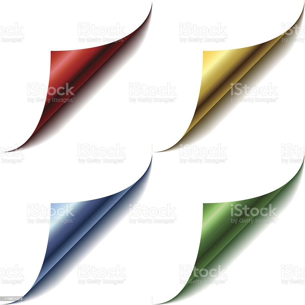 Four color page corners vector art illustration