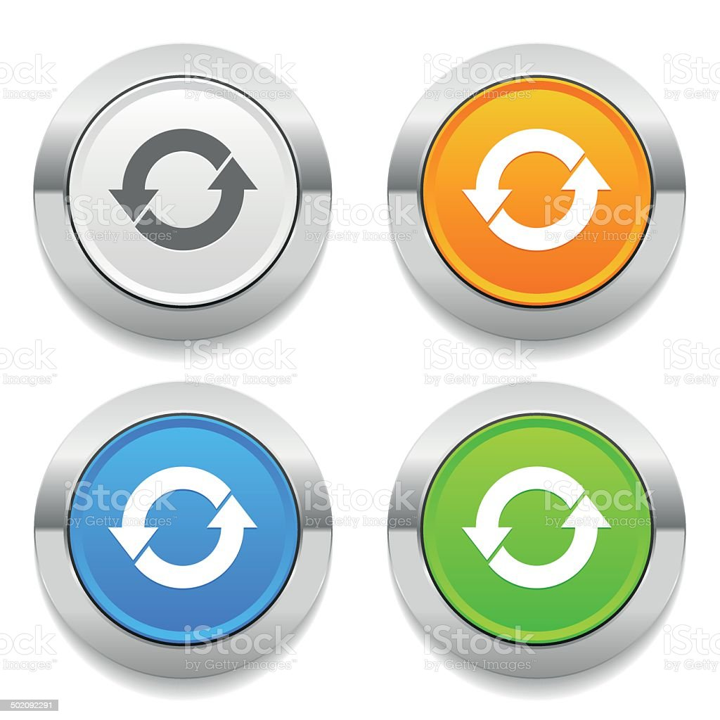 Four color round button with arrow icon and metallic border vector art illustration