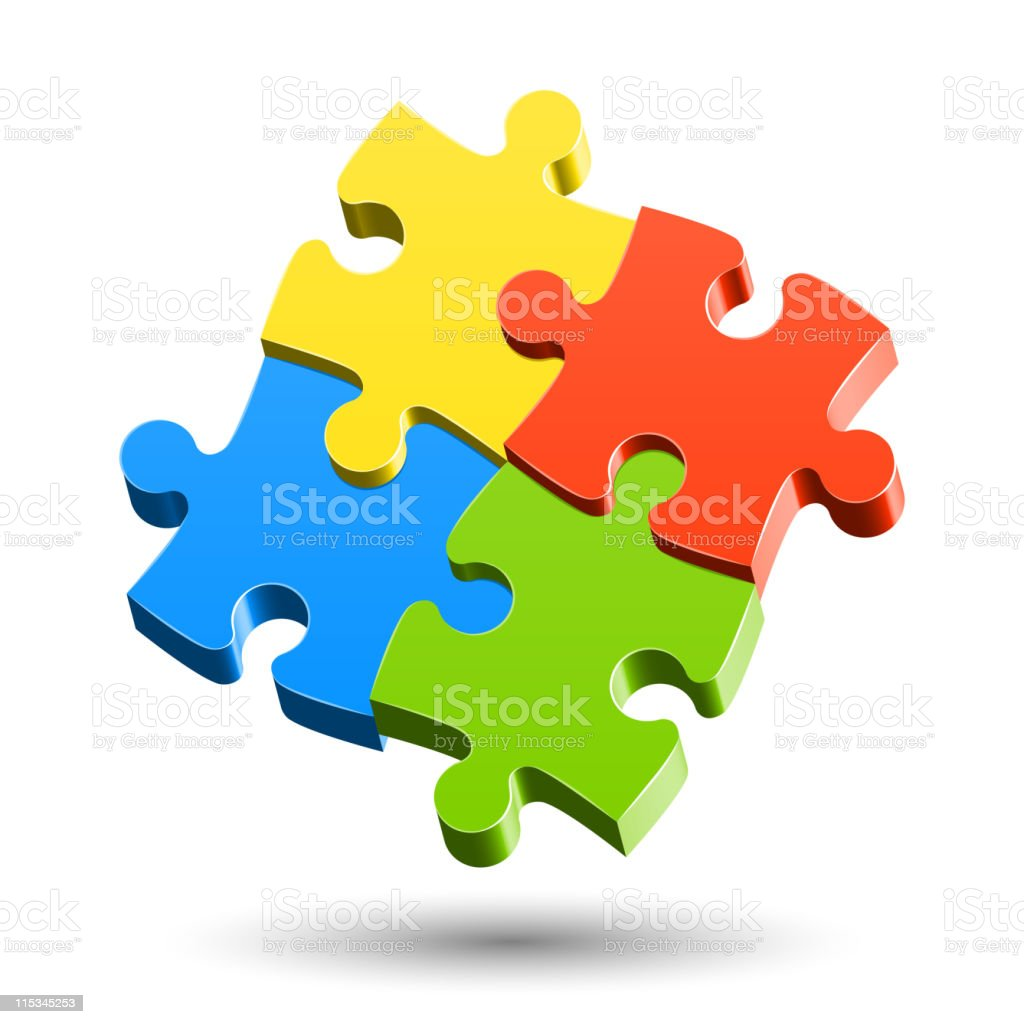 Four colored jigsaw pieces fit together on a white backing royalty-free stock vector art