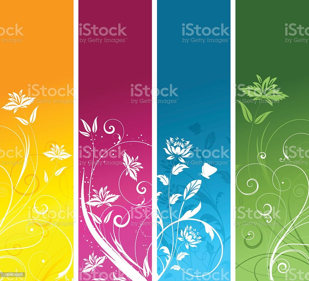 Four colored panels with a floral pattern royalty-free stock vector art