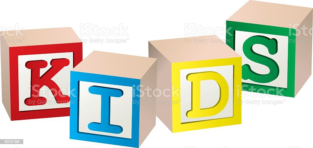 Four colorful cubes forming the word KIDS royalty-free stock vector art