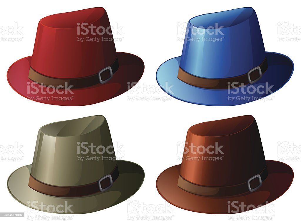 Four colorful hats vector art illustration