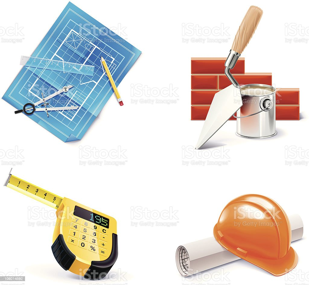 Four colorful home building and renovating icons vector art illustration