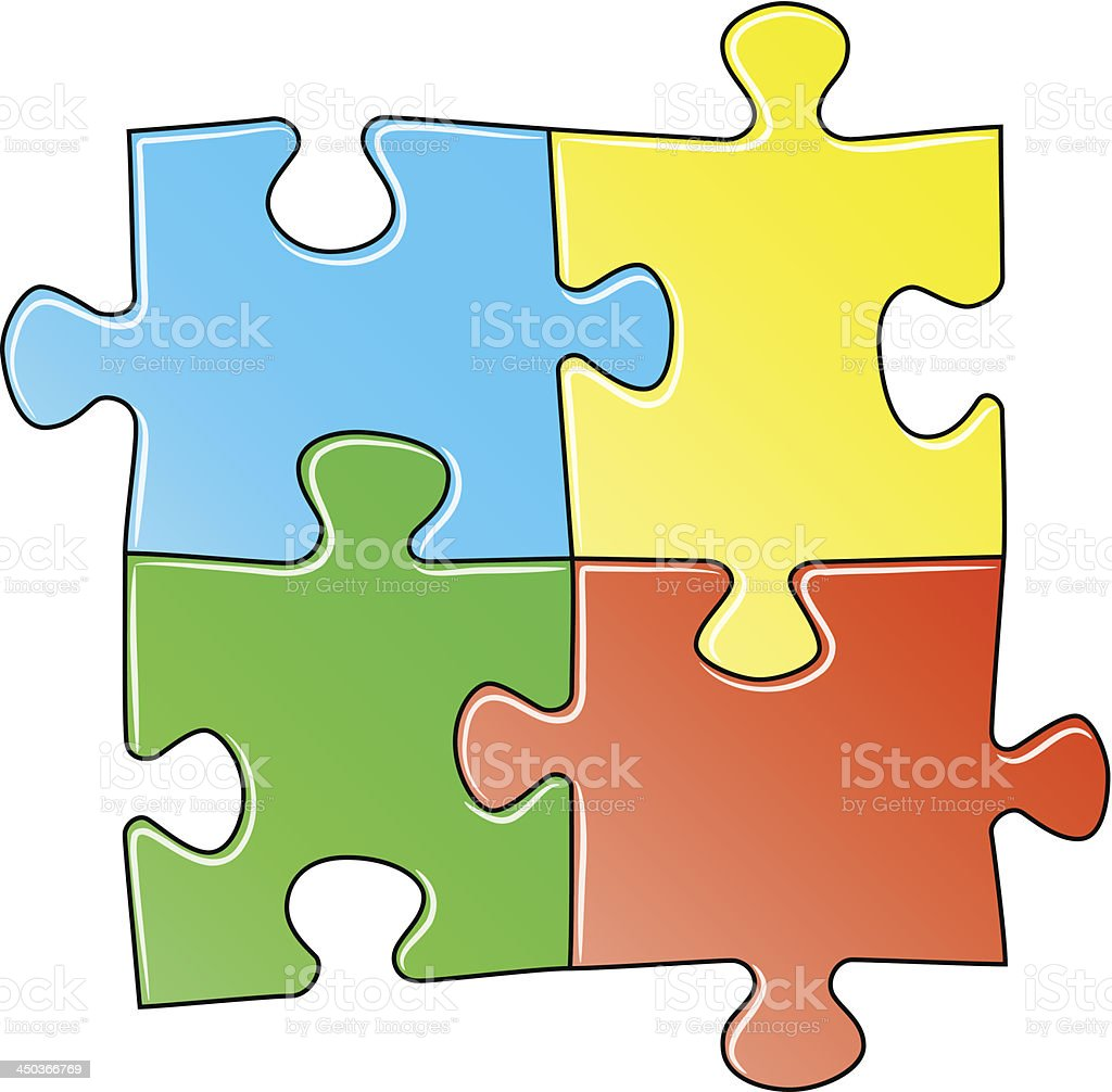 four colorful jigsaw puzzle pieces royalty-free stock vector art